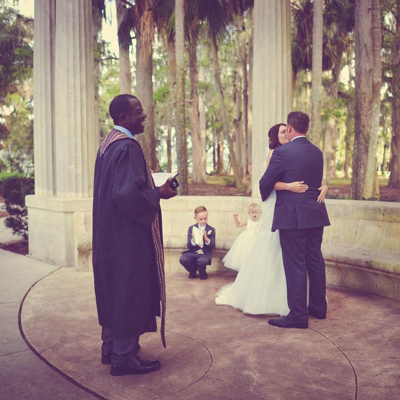 RJ and Rachels wedding ceremony in Kraft Azalea Gardens